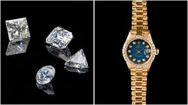Seized: Watches and diamonds sold at auction.