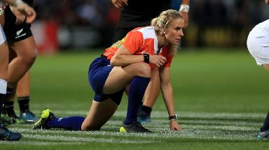 Referee Joy Neville during the 2017 Women's World Cup Final at the Kingspan Stadium, Belfast.