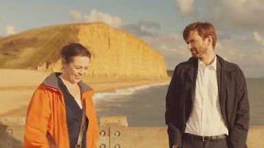 Olivia Colman in ITV's Broadchurch with David Tennant