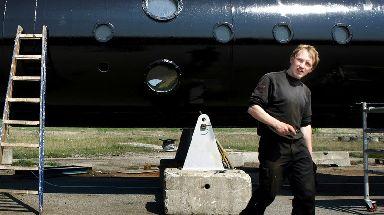 Peter Madsen outside his 'UC3 Nautilus' submarine