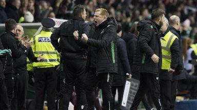 Hibs head coach Neil Lennon celebrates his side's second goal.