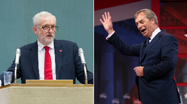 Brexit: Jeremy Corbyn (left) views were compared to Nigel Farage's by one of his own MPs.