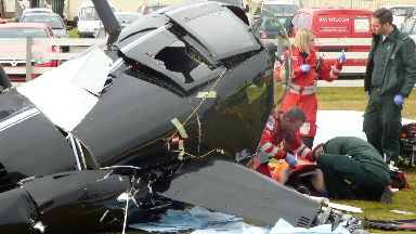 Crash: Paramedics treated pilot.