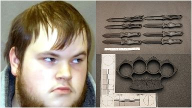 Connor Ward and some of the weapons found.