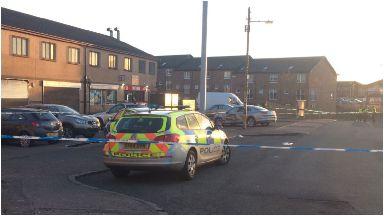 Stravanan Road: Scene of alleged hit-and-run near shops in Castlemilk.