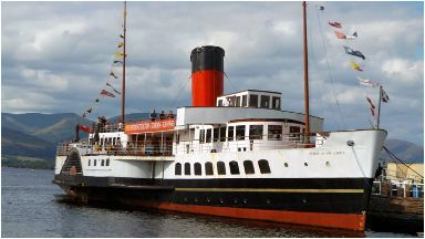 The Maid of the Loch is moored at Balloch Pier.