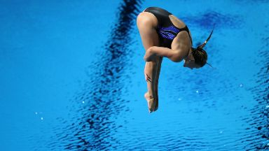 Grace Reid dives in the 1m final on her way to Commonwealth Gold.