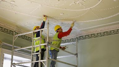 Repairs: An ornate plaster ceiling was one of the areas in need of repair.