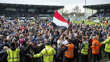 Celebrations: Saints fans partied in Paisley.