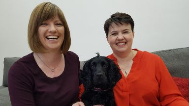 Ruth Davidson with partner Jen Wilson and their dog, Wilson.