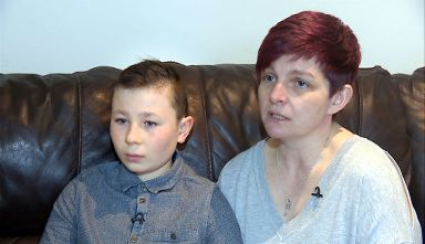 Family: Fifteen-year-old Lewis and his mother Debbie.