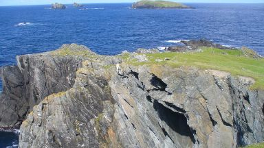 Cliffs: Area at the northern tip of Shetland.