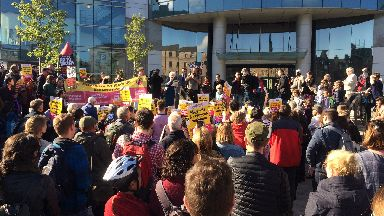 Demonstration: Hundreds turn out in Edinburgh.
