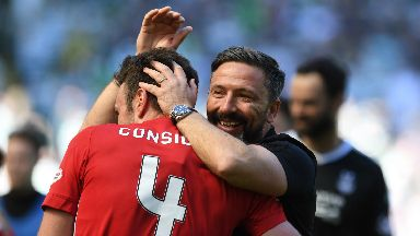 Delight: McInnes celebrated strong finish.