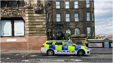 North Bridge: Police at scene of incident on Tuesday.