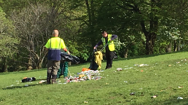 Litter-pickers: Major clean-up of the park was needed.