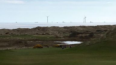 Trump International: View of the turbines from golf course.