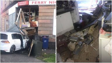 Crash: Shop on Ferry Road left in ruins.