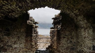 View from Urquhart castle looking over Loch Ness.