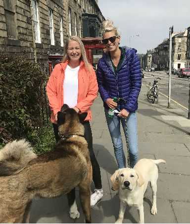 Emma Eliot and Celia Innes-Kerr had a fish and chips pit stop during their afternoon walk.