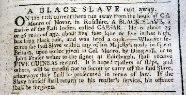 Runaway slave: Caesar.