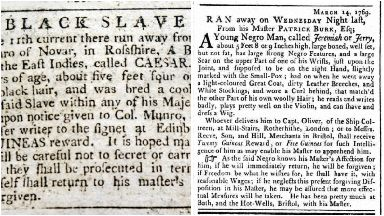 Runaway slaves: Newspaper ads from 18th century.