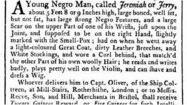 Runaway slave: Jeremiah could play the violin.