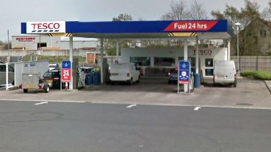 Tesco: Two workers were inside the petrol station.