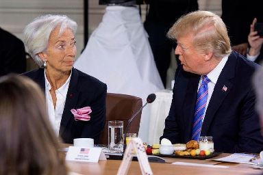 Christine Lagarde and President Trump.