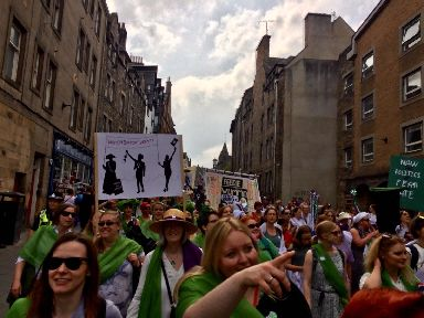 March: Thousands of women and girls in Edinburgh.