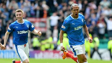 Bruno Alves (right) celebrates after scoring for Rangers against Hibs.