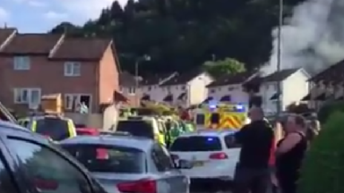The aftermath of the explosion at a house near Caerphilly.