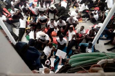 Migrants aboard SOS Mediterranee's Aquarius ship.