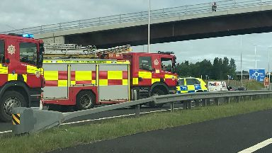 Crash: Fire engines at the scene.