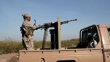 Saudi-backed forces patrol in Hodeida, Yemen.
