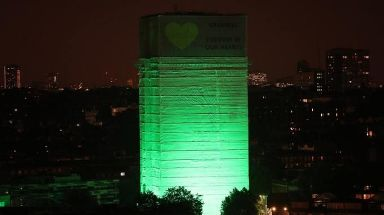 Grenfell Tower was illuminated in green to mark a year since the tragedy.
