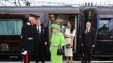 The Queen and Meghan arrive by Royal Train at Runcorn Station.