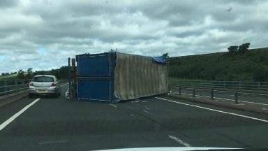 Road: A1 was closed in East Lothian.