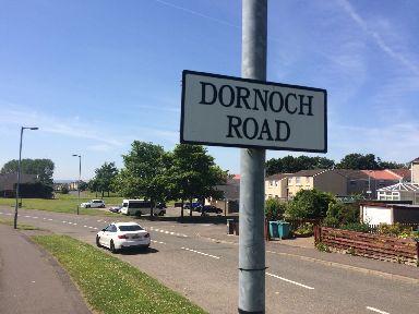 Holytown: Sun shines on Dornoch Road.