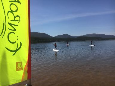 Catching a wave: Surfers in Loch Morlich.
