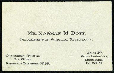 Professor Dott's business card.