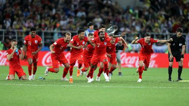 Celebrations: England beat Colombia on penalties.