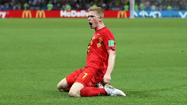 Star: De Bruyne shone against Brazil.