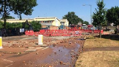 A large pipe has burst in Birmingham
