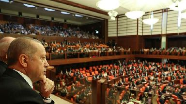 Turkey's President Recep Tayyip Erdogan at the parliament in Ankara