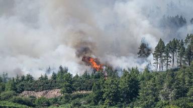 Ben Bhraggie: Fire began on forestry on hillside.