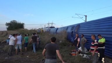 The train derailed in a village in Tekirdag province.