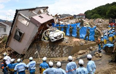 Rescuers search for missing people in Kumano town, Hiroshima prefecture
