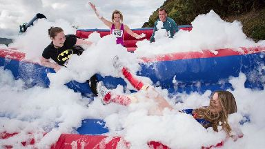 Foam fun: The RoadBlock Run in Edinburgh.