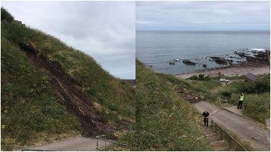 Landslide: At Auchmithie beach